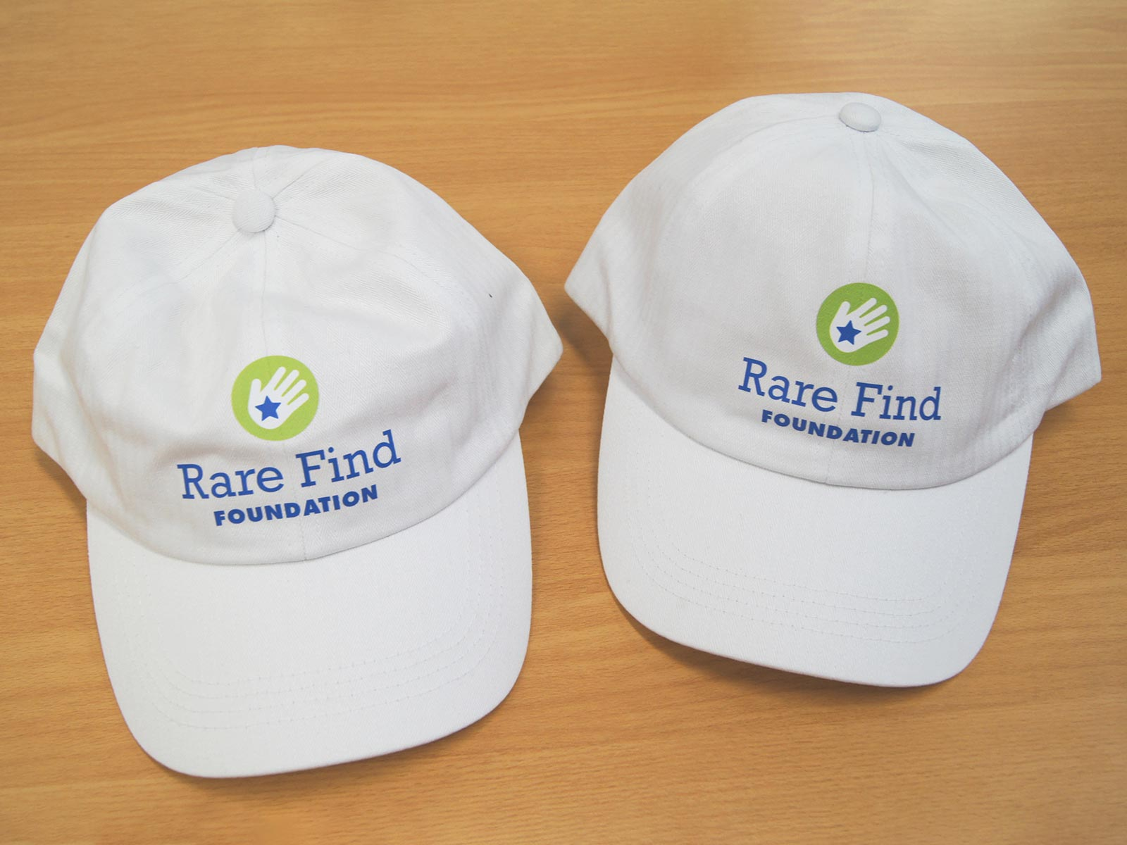 Rare Find Foundation white baseball caps